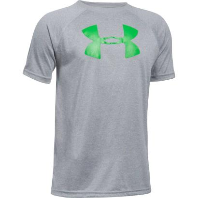 Under Armour Big Logo Tech Tee Steel Light Heather Kids - Front