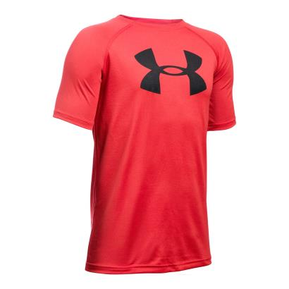 Under Armour Big Logo Tech Tee Red Kids - Front