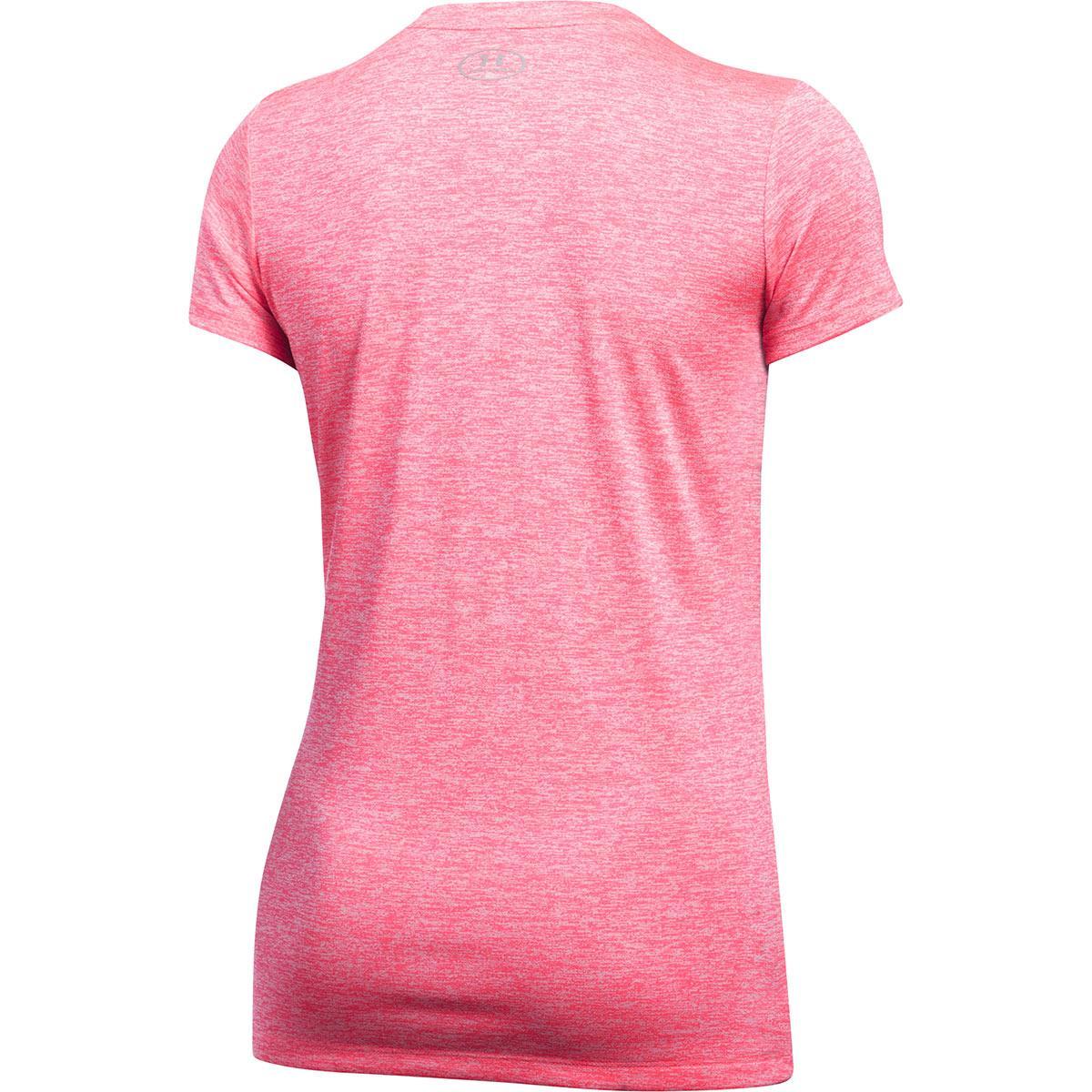 ... Under Armour Ladies Twist Tech Tee Pink Shock - Back ... d2cb622c8b9