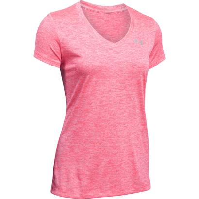 Under Armour Ladies Twist Tech Tee Pink Shock - Front