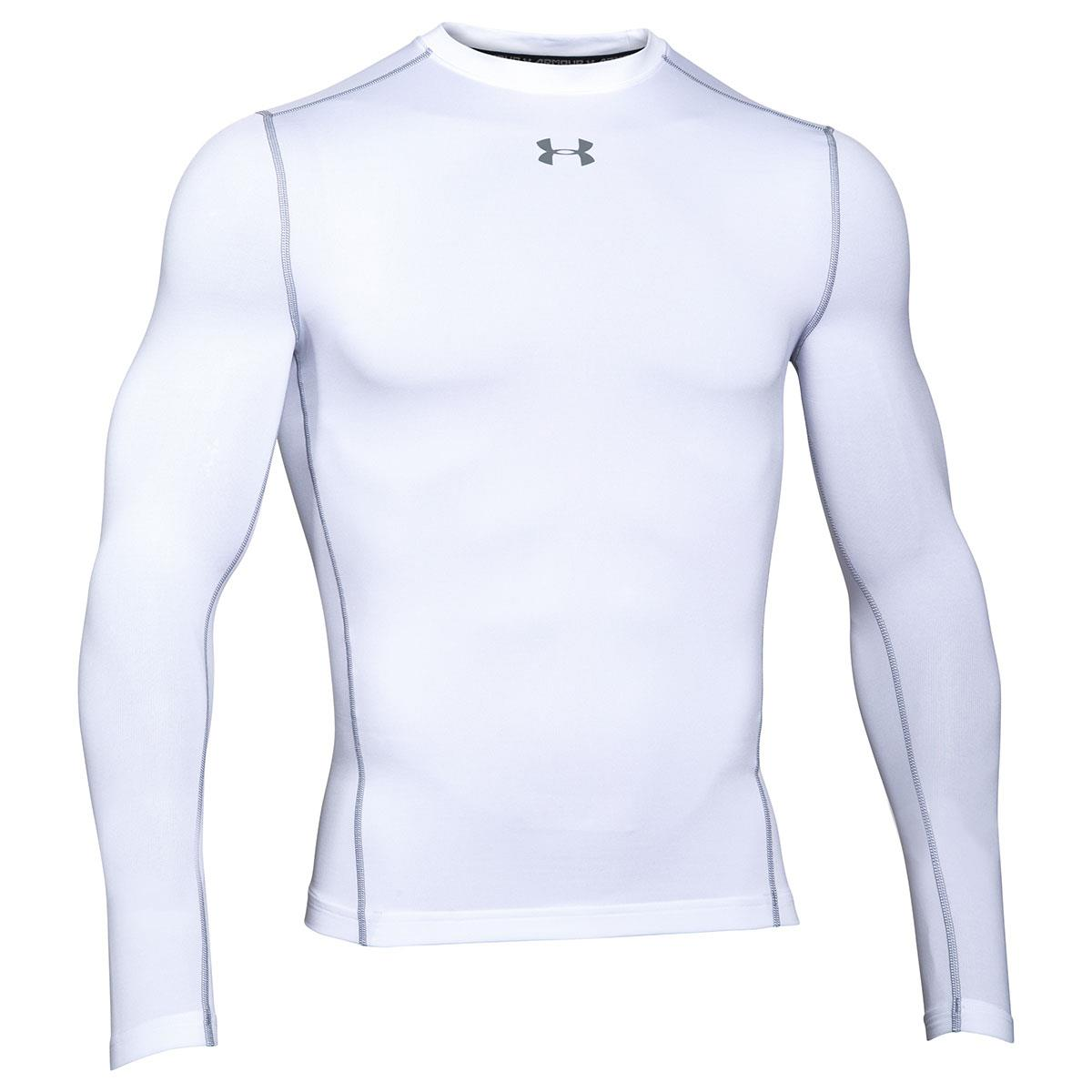 ec4ac074b Mens White Under Armour Coldgear Compression Crew (Long Sleeved ...