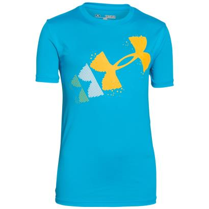 Under Armour Pixelated Logo Tee Meridian Blue Kids - Front