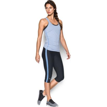 Under Armour Ladies Heatgear Compression Capri Black/Water - Detail 1