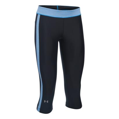 Under Armour Ladies Heatgear Compression Capri Black/Water - Front