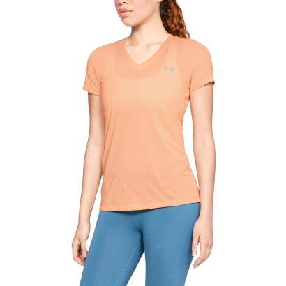 Under Armour Ladies Threadborne Twist Tee Peach Horizon - Model 1