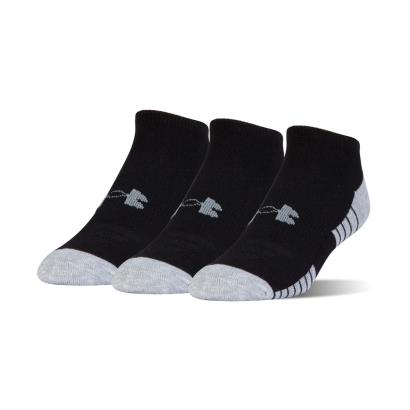 Under Armour 3 Pack of Heatgear Tech No Show Socks Black - Front