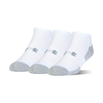 Under Armour 3 Pack of Heatgear Tech No Show Socks White - Front