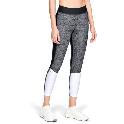Under Armour Ladies Heatgear Jacquard Crop Black/White - Model 1