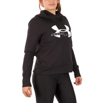 Under Armour Ladies Cotton Sportstyle Logo Hoodie Black - Model1