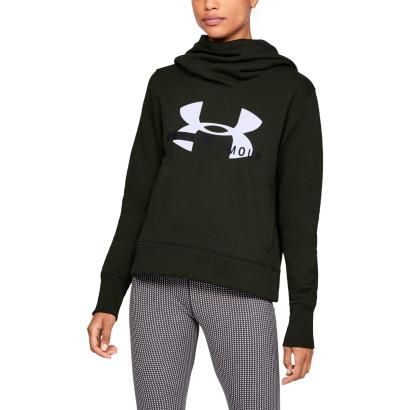 Under Armour Ladies Cotton Sportstyle Logo Hoodie Green - Model 1