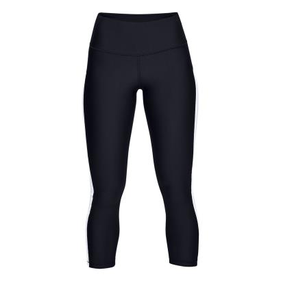 Under Armour Womens Ankle Crop Branded Leggings Black/White - Front