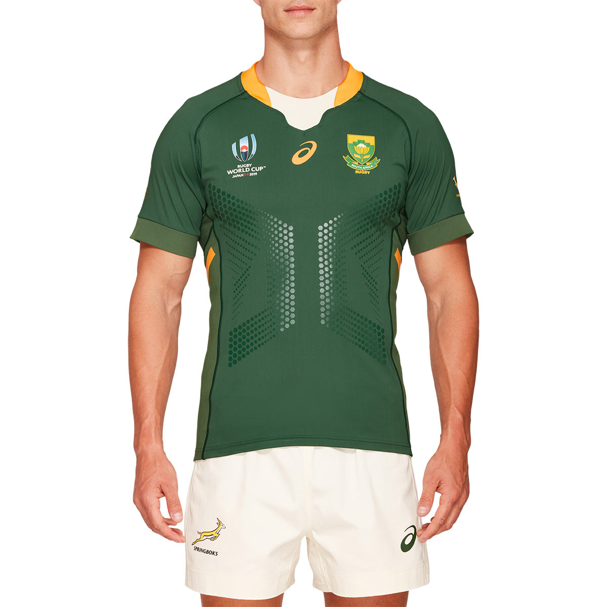 09b8e618f52 Rugby World Cup 2019 South Africa Gameday Home Rugby Shirt S/S - Model