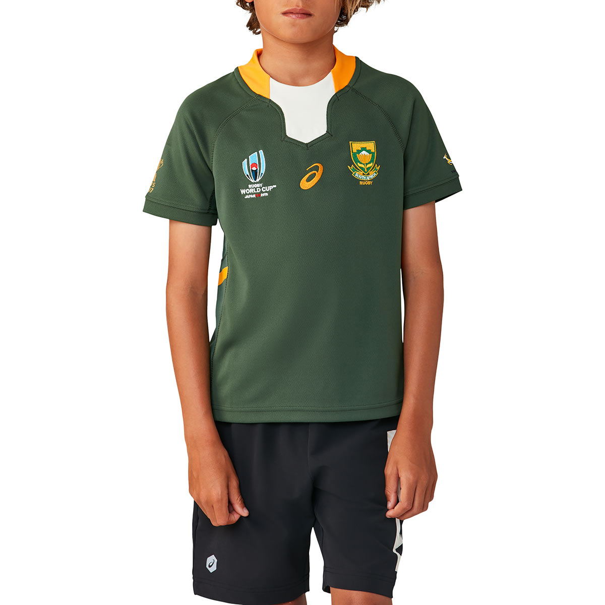ba9f631a5b9 Rugby World Cup 2019 South Africa Home Rugby Shirt S/S Kids - Front