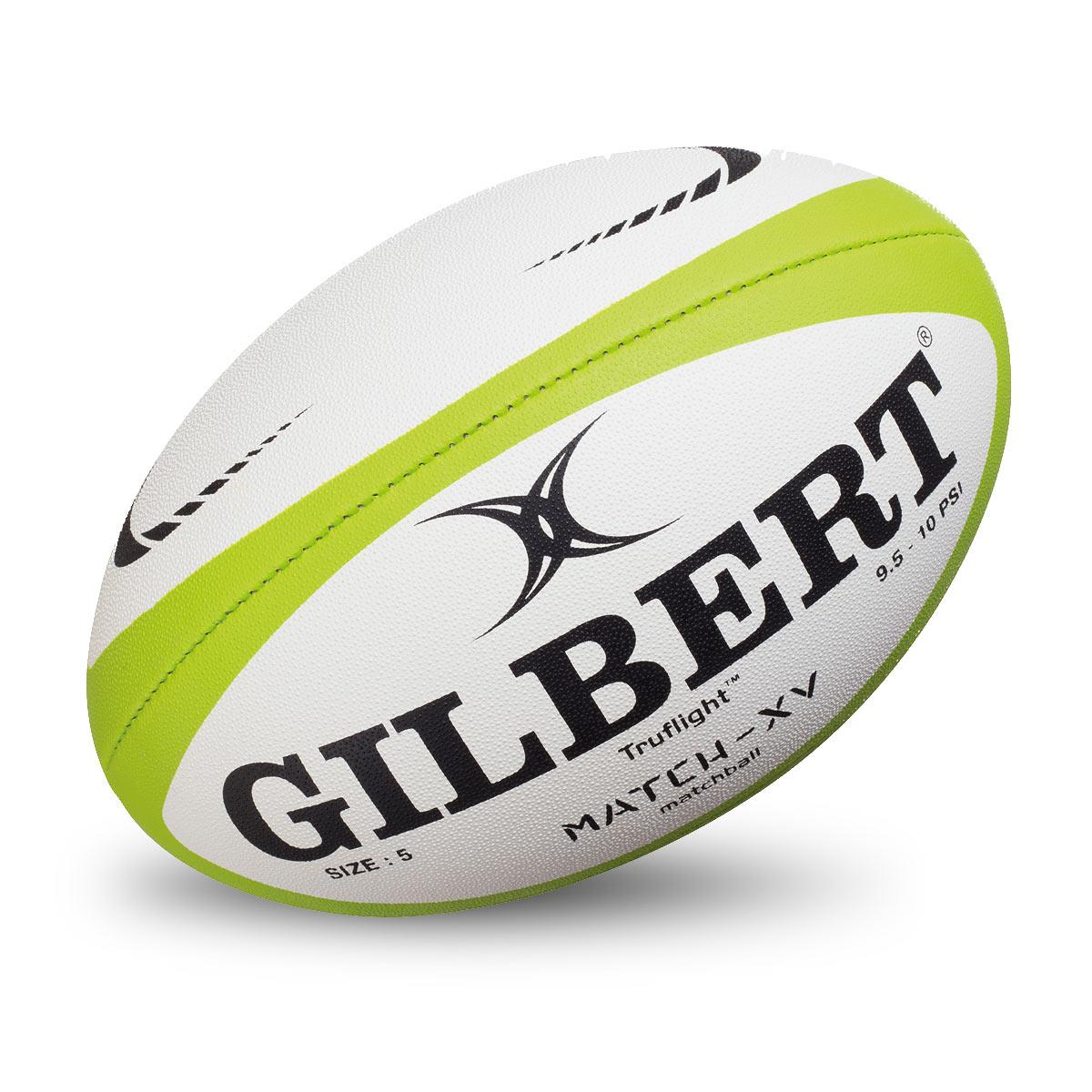 White And Green Gilbert Match XV Rugby Ball
