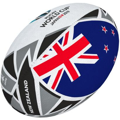 Gilbert Rugby World Cup 2019 New Zealand Flag Rugby Ball - Front