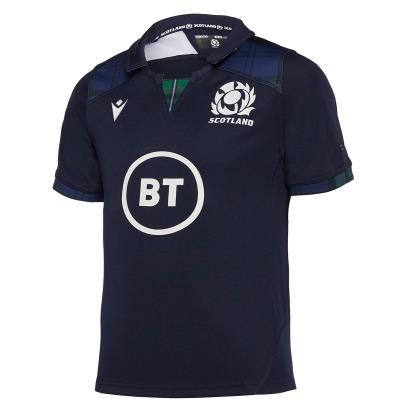 Scotland Poly Home Rugby Shirt S/S Kids 2020 front