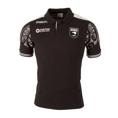 New Zealand Kiwis Rugby League Polycotton Polo Black 2018 - Front