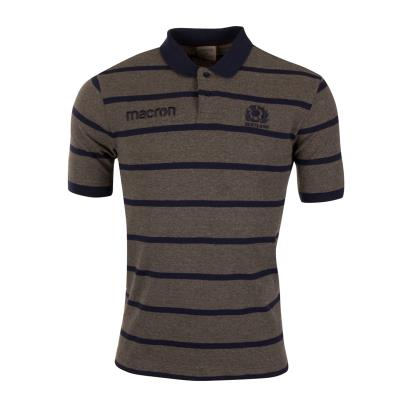 Scotland Striped Polo Charcoal Marl 2019 - Front