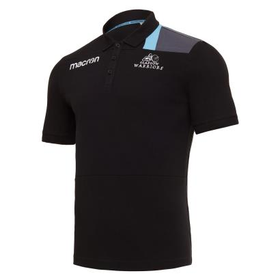 Glasgow Warriors Polycotton Polo Black 2018 - Front