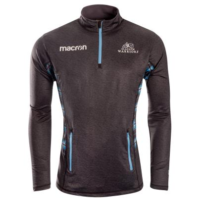 Glasgow Warriors Softshell 1/4 Zip Top Black 2019 - Front
