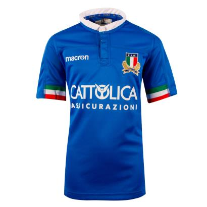 Italy Poly Home Rugby Shirt S/S Kids 2019 - Front