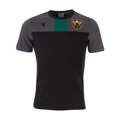 Northampton Saints Travel Polycotton Tee Black Kids 2020 - Front