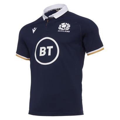Scotland Poly Home Rugby Shirt S/S 2021 - Front
