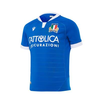 Italy Poly Home Rugby Shirt S/S Kids 2021 - Front