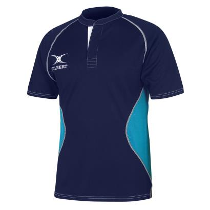 Gilbert Teamwear Xact V2 Match Shirt Navy/Sky Kids - Front