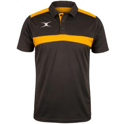 Gilbert Teamwear Photon Polo Black/Gold front