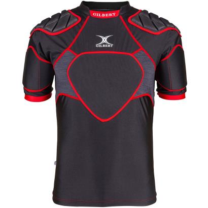 Gilbert XP300 Rugby Shoulder Pads Black/Red - Front 1