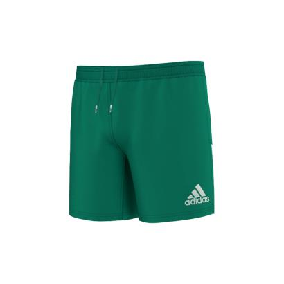 adidas 3 Stripe Rugby Shorts Bold Green - Front