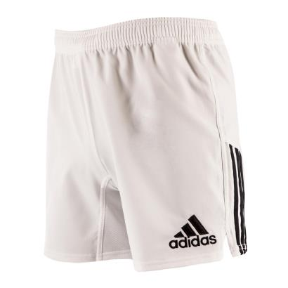 adidas 3 Stripe Rugby Shorts White - Front 1