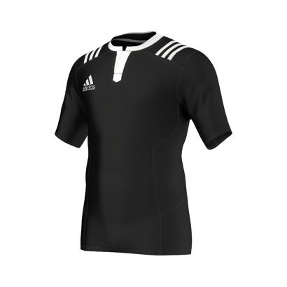 adidas Fitted 3S Rugby Match Shirt S/S Black - Front