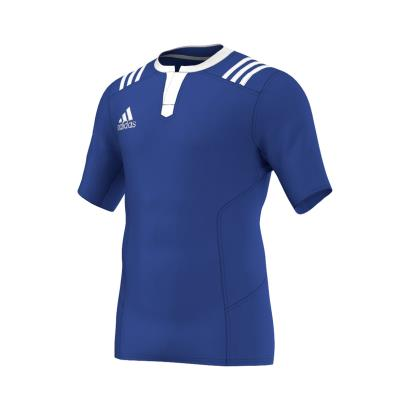 adidas Fitted 3S Rugby Match Shirt S/S Bold Blue - Front