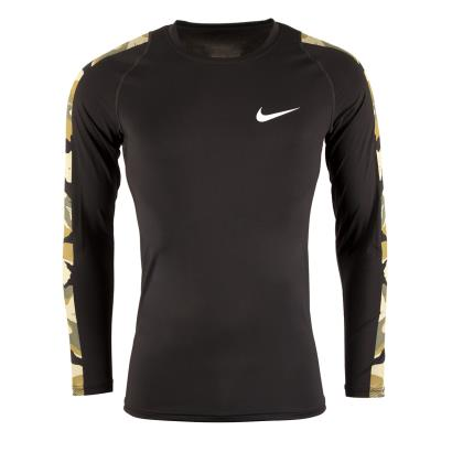 Nike Pro Camo Long Sleeved Top Black - Front