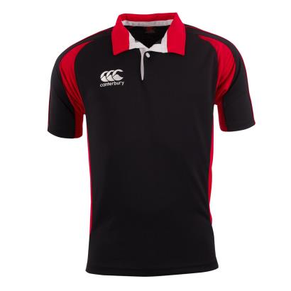 Canterbury Teamwear Focus Shirt Black/Scarlet Kids - Front