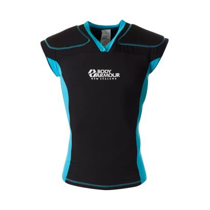 Body Armour Flexicup Rugby Shoulder Pads Black/Cyan - Front
