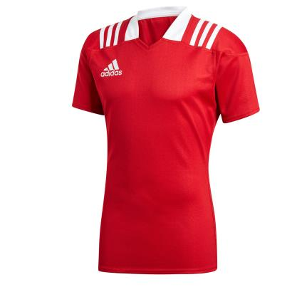 adidas 3S Rugby Match Shirt S/S Red - Front
