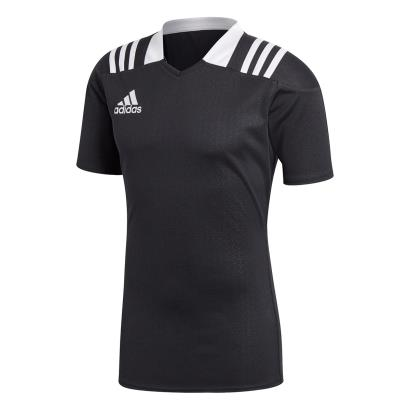 adidas 3S Rugby Match Shirt S/S Black - Front