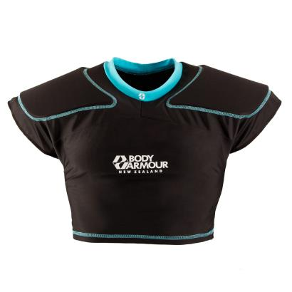 Body Armour Tech Lite Rugby Shoulder Pads Black/Cyan - Front