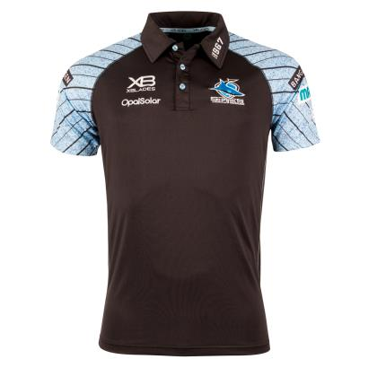 Cronulla Sharks Rugby League Media Polo Black 2018 - Front