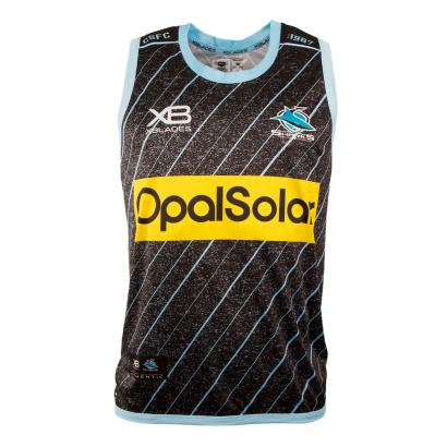 Cronulla Sharks Rugby League Training Singlet Black 2018 - Front
