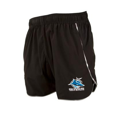 Cronulla Sharks Rugby League Training Shorts Black 2018 - Front 1
