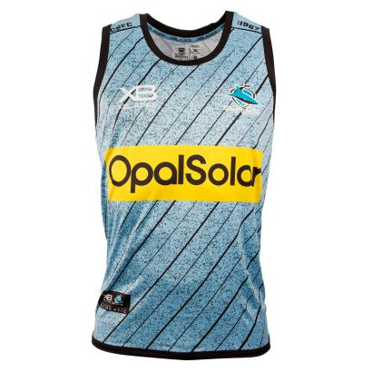 Cronulla Sharks Rugby League Training Singlet Sky 2018 - Front