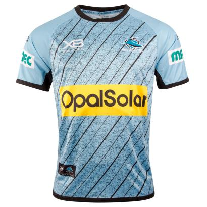 Cronulla Sharks Rugby League Training Tee Sky 2018 - Front