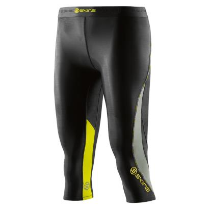 Skins Ladies DNAmic 3/4 Tights Black/Limoncello - Front