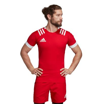 adidas 3S Rugby Match Shirt Red - Model 1