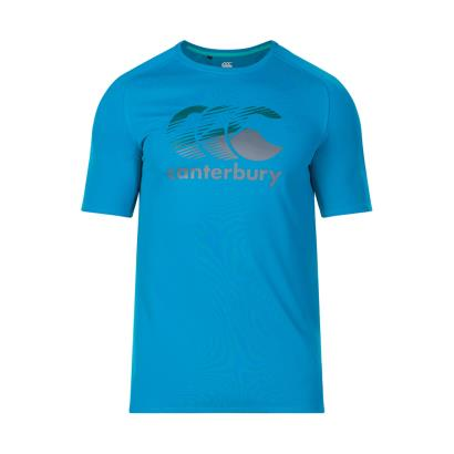 Canterbury Vapodri Poly Large Logo Tee Shirt Blue Jewel - Front