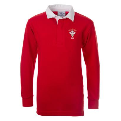 Wales 2021 Winners Classic Rugby Shirt L/S Kids - Front